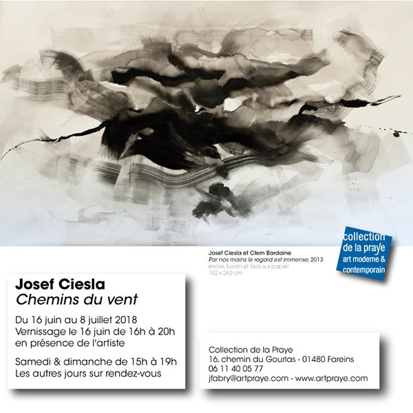 carton d'invitation, expo Josef Ciesla à La Collection de la Praye juin juillet 2018